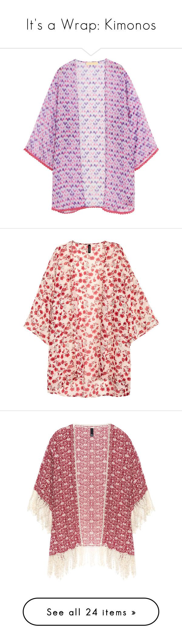 """It's a Wrap: Kimonos"" by polyvore-editorial ❤ liked on Polyvore featuring kimonos, intimates, robes, purple, purple robe, beach slip, beach kaftan, kimono robe, beach kimono and kimono"