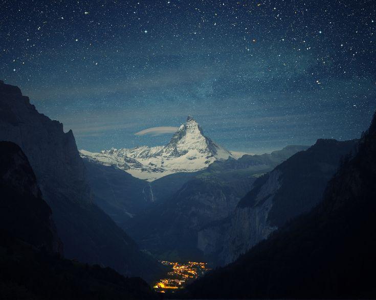 switzerland alps mountains night beautiful landscape (1280  1024)