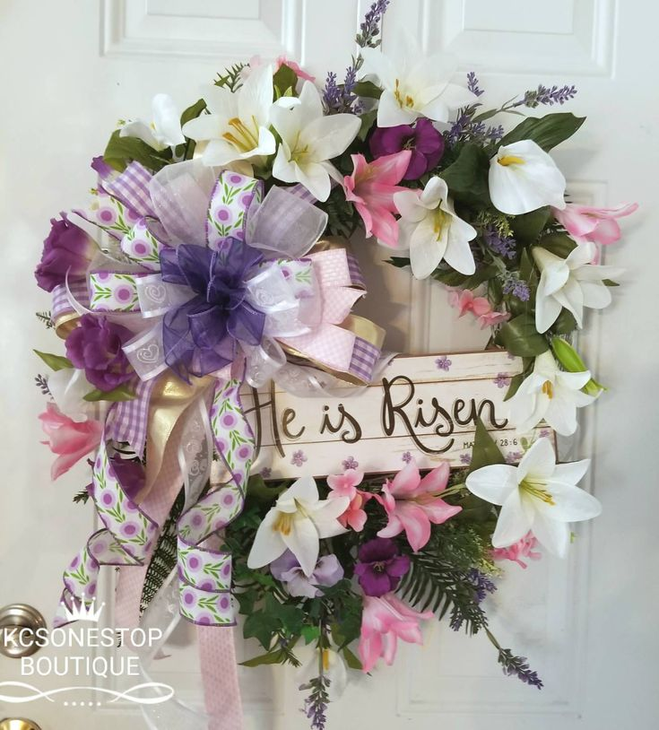 FREE SHIPPING Excited to share the latest addition to my #etsy shop: He is Risen Religious wreath. Front Door Wreath http://etsy.me/2BQ104y