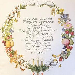 """Godmorgon! För många är det arbete och skola igen. Piggar upp er med """"Månaderna"""" illustrerad av Elsa Beskow. #månaderna#elsabeskow#barnbok#illustration#konst#art#bild#vintage#blommor#flowers"""