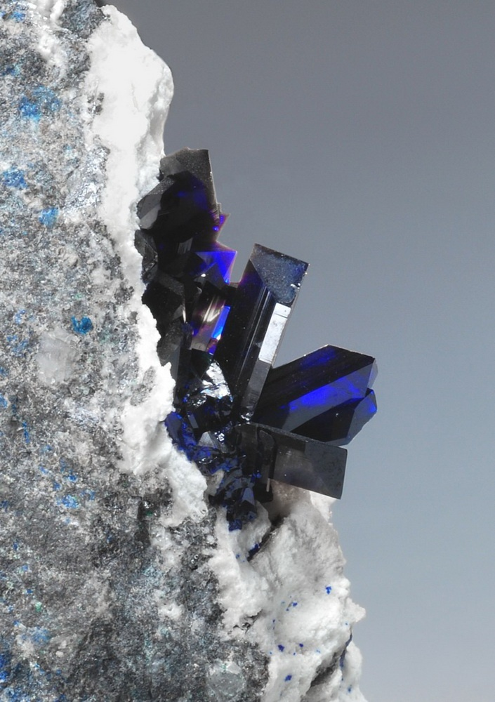 Azurite transparent blue crystals with Wulfenite on white Dolomite matrix /  Tsumeb Mine, Namibia