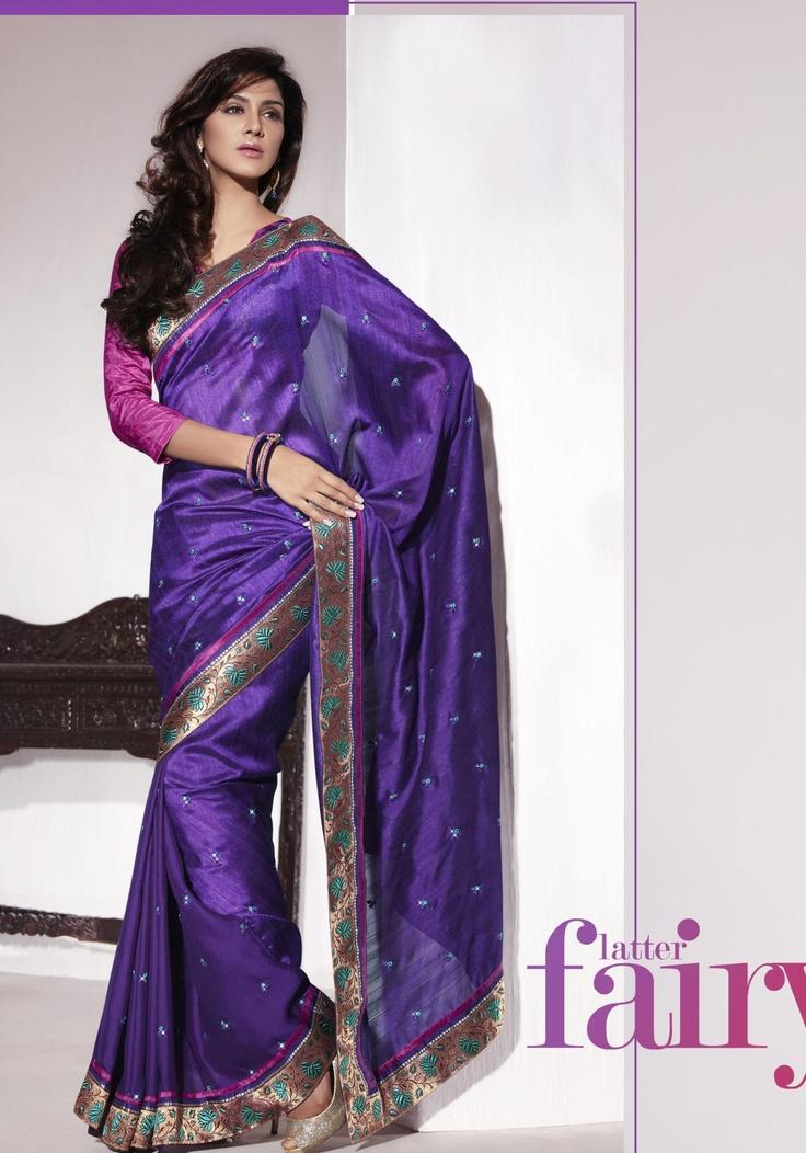 Purple Art Silk Saree 15992 With Unstitched Blouse