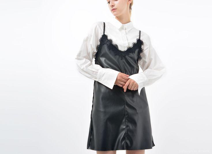 Greta Stretch-Faux leather Bustier dress │ Shop trendy leather & fur clothing at bosroom.com #leatherdress #vibes #bustier #leatherbustier #lace #blackdress