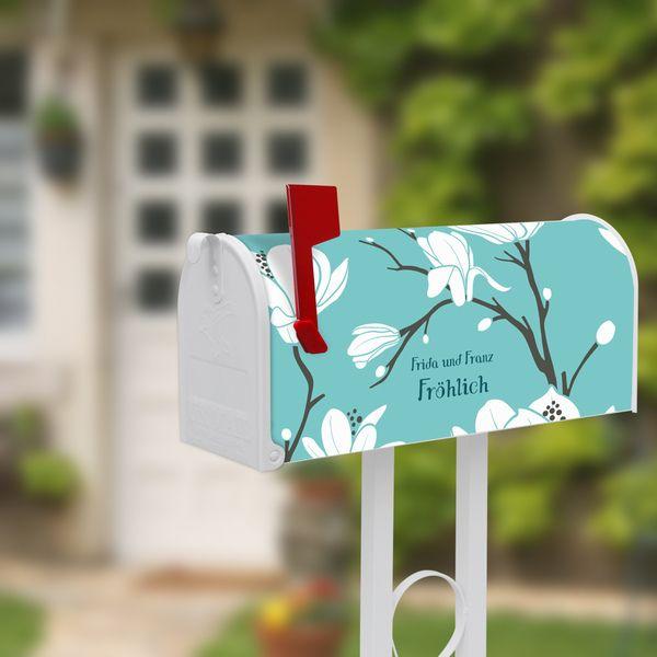 US Mailbox Standfuß Weiß mit Motiv Magnolien von banjado via dawanda.com