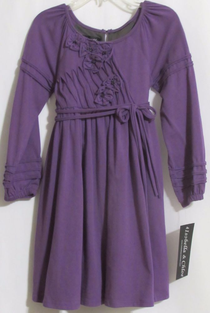 New Girls ISABELLA & CHLOE Purple Stretch Knit Lined Peasant Dress 4 Orig $67 #IsobellaChloe #PeasantStyle #VersatileDressy