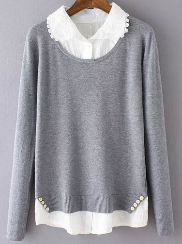 Grey Lapel Buttons Embroidered Blouse Knitwear