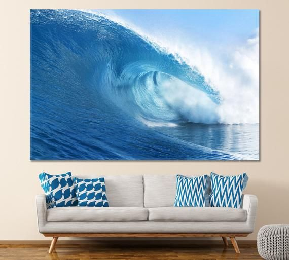 Ocean Wave Canvas Sea Water Wall Decor Water Housewares Homedecor Etsymktgtool Oceanwavecanvas Seawaterwalldecor Water Walls Ocean Print Water Printing