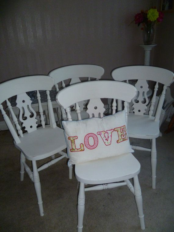 4 X Shabby Chic Solid Wood Fiddle Back Chairs Upcycled In