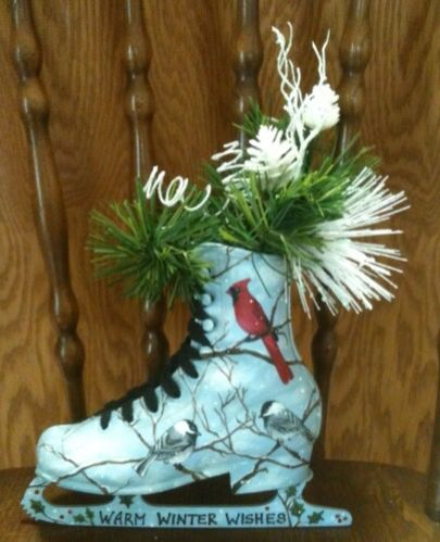 Cardinal and Chickadees I painted on an ice skate