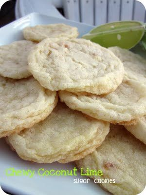 chewy coconut lime sugar cookiesCoconut Limes, Fun Recipe, Sugar Cookies, Perfect Cookies, Citrus Cookies, Yum, Savory Recipe, Limes Sugar, Chewy Coconut