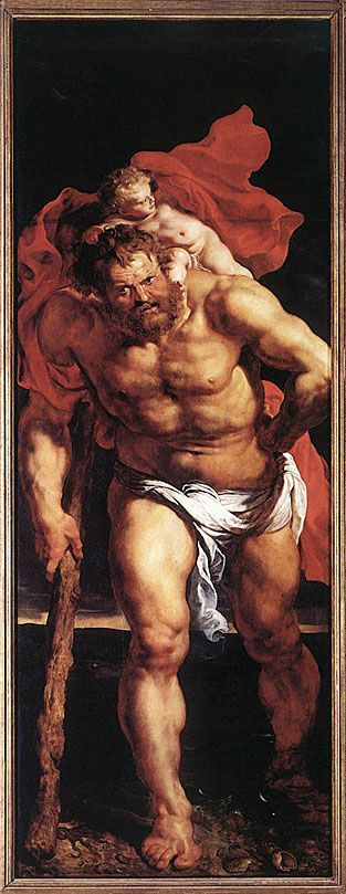 Christopher bearing the Christ child (outer panel of Descent from the Cross): (1612-14) Painted according to Golden Legend Narrative: SALVATION! shoulders carry, body mortifications, mind devoted and mouth professing/preaching Him; heavily muscled - like ancient Roman Farnese Hercules; Giant: mythical hero in physique + in putting strength at service of mankind; similar to Orazio Bogianni's St.Christopher: striding forward out of picture plane - carrying Christ to the beholder