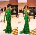 2016 Nouvelle Arrivée Rouge Tapis Miss Nigeria Sirène Manches Longues Vert Dentelle Celebrity Inspiré Robe Formelle Robes De Soirée de la boutique en ligne | Aliexpress mobile