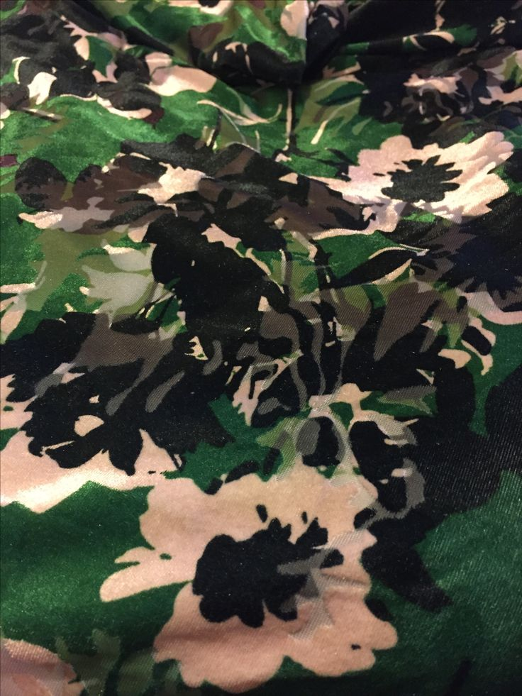 Greens and browns velvet flocking  4 way stretch  2 1/2 metres x160cm