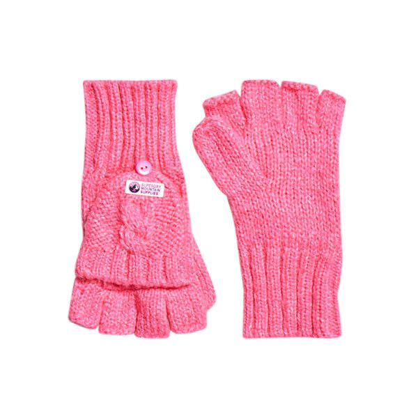 Superdry Clarrie Mittens ($21) ❤ liked on Polyvore featuring accessories, gloves, pink, superdry, pink gloves, fingerless mittens, fingerless gloves and mitten gloves