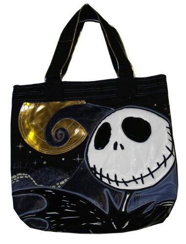 Nightmare Before Christmas Jack Skellington Moon Foil Canvas Tote Bag Loungefly