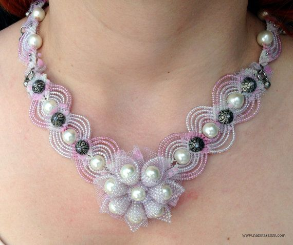 Necklace  Bridal Macrame Necklace  Pearl Jewelry  by NazoDesign, $120.00