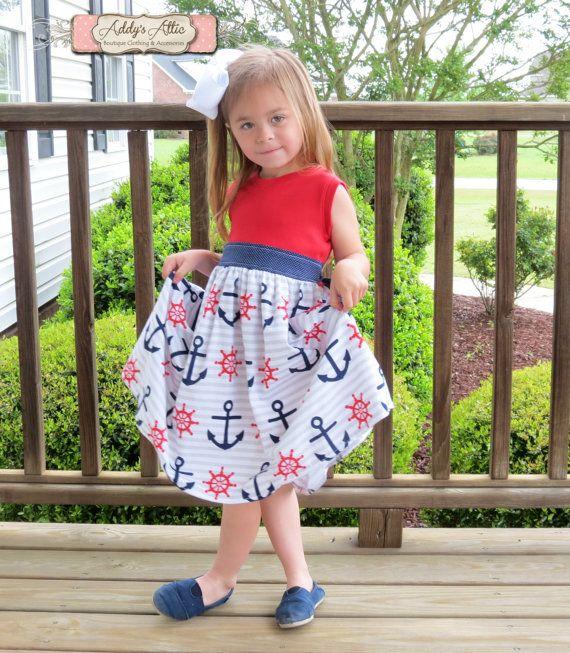 Nautische jurk meisjes brei Tank jurk peuter Girl Sundress