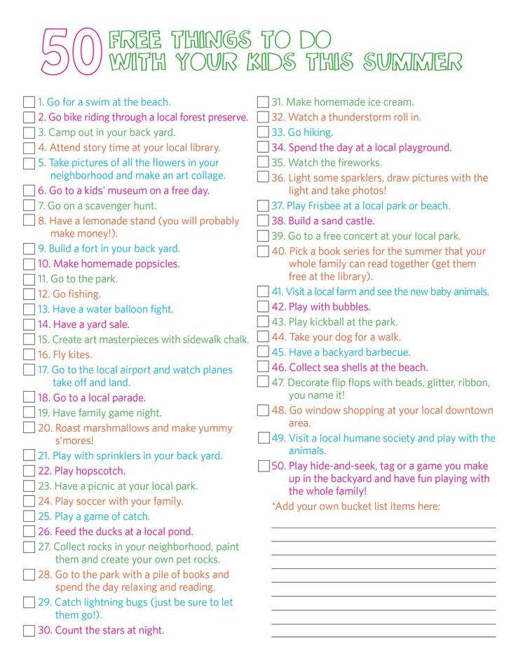 50 things to do in the summer with kids :)