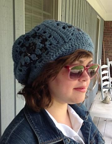 Granny square hat, #crochetgrannyhat, blue hat, crochet hat, blue crochet hat, blue beanie by #onceuponaroll #zibbetflash -  $26.00