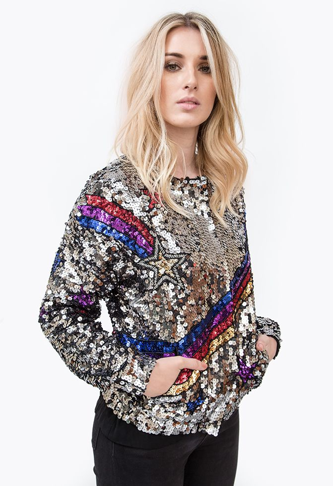 EMBROIDERY STAR JACKET SEQUINED SILVER JACKET FROM JOULIK