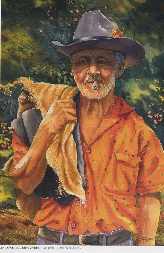 Años muy bien vividos. Acuarela. 56 x 37 cms. 1995 Germán Vieco Betancur