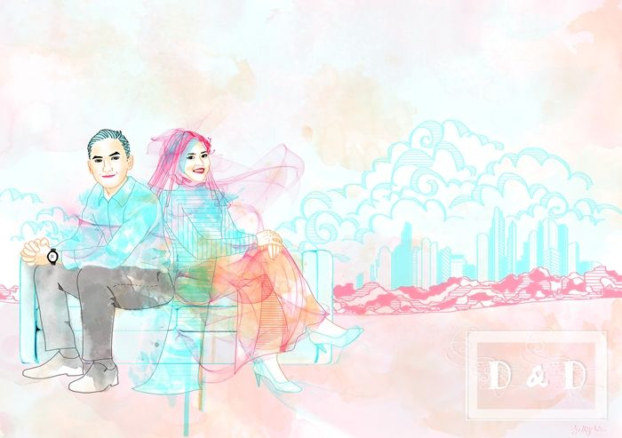 Sitting on a papertown makes them look more adorable. Have a happy marriage, Putri and Dicky!  #art #illustration #drawing #draw #jellychic #arts #artsy #design #digitalart #colors #colorful #picture #artist #sketch #sketchbook #paper #pen #pencil #artsy #instaart #beautiful #instagood #gallery #masterpiece #creative #photooftheday #instaartist #graphic #graphics #artoftheday
