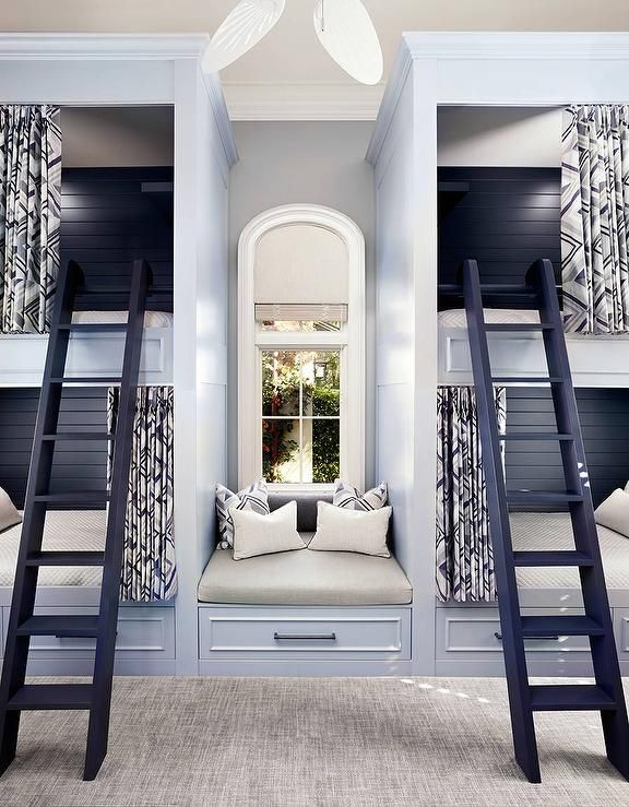 two sets of exquisite light blue built in boys bunk beds accented with blue - Boys Room Ideas With Bunk Beds