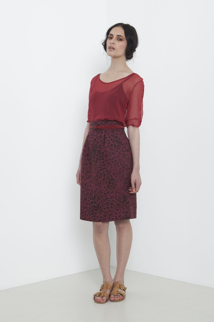 Georgette Lily Blouse - raspberry  Sophie Skirt - cranberry