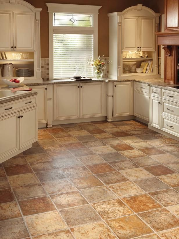 Best Floors For Kitchens In Nice Tile Motif Combined With White Wooden  Kitchen Cabinets And Granite