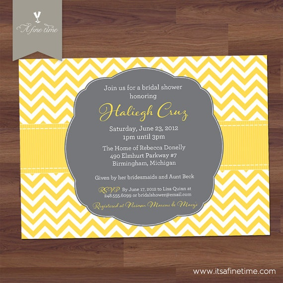 bridal shower invitation or baby shower invitation preppy chevron modern grey and yellow gold silver diy printa ates wedding shower ideas