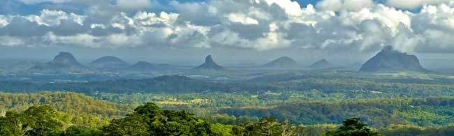 As one of the most spectacular scenic points of the Sunshine Coast, the Glass House Mountains and its national park are together a popular tourist destination in Queensland.