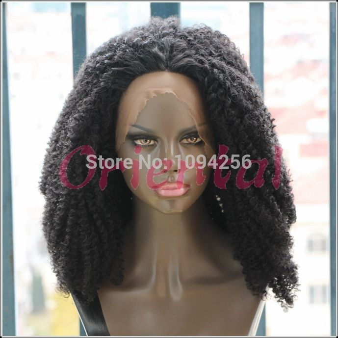 Find More Synthetic Wigs Information about Oriental hot selling Free  shipping long heat resistant fiber afro kinky curly synthetic lace front  wig for black ...