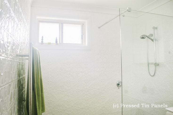 PressedTinPanels_Snowflakes900x1800_Bathroom_ShowerRecess_Wall_PearlWhite_PowderCoat
