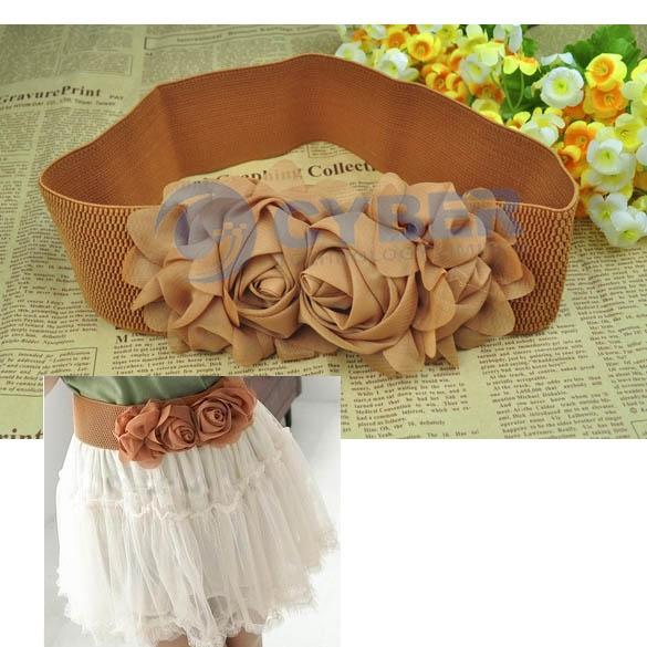 New Fashion Multicolor Double Rose Buckle Style Elastic Belt Waistband | eBay