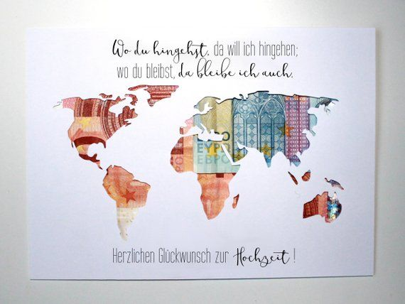 Money gift to the wedding world map choice of individual wedding gift