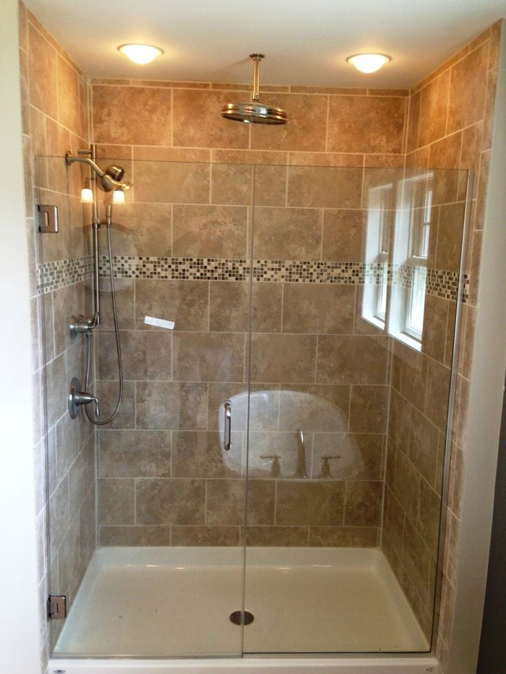 Creative Small Bathroom Shower With Window And Mosaic Backsplash Tile Feat Pretty Recessed Lighting Idea Impressive Small Shower To Enhance Bathroom Design