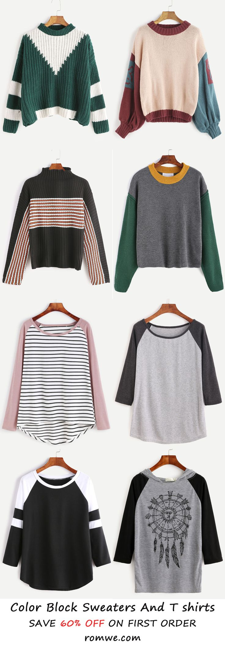 Fall & Winter Chic - Color Blcok Sweatshirts and T shirts from romwe.com