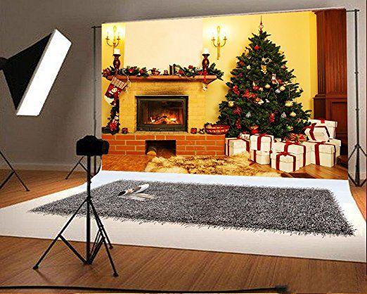 7x5ft(210x150cm) hiver intérieur Photographie Fond Jaune LED Photo sutio Coffret cadeau Blanc Brique Cheminée de Noël Fonds pour photographie