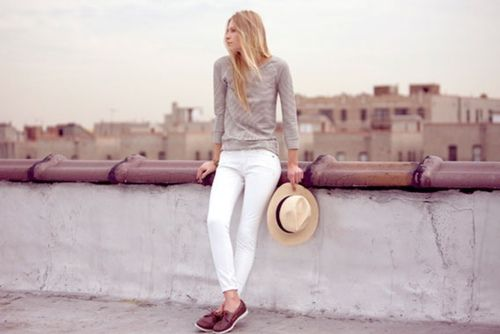 white jeans & grey top
