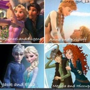 YES to all expect merdia and hiccup he already has astrid.  Rapunzel x Eugene,  Anna and Kristoff, Jack and Elsa