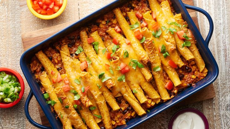 Frozen beef taquitos are the perfect topper for this flavorful, veggie-packed Southwestern casserole. Serve with all your favorite toppings, like cilantro, sour cream and green onions.