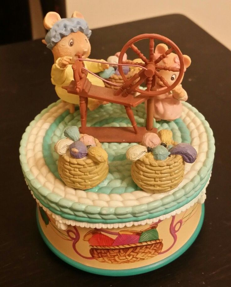 """Animated music box that rotates with 2 mice spinning yarn and a spinning wheel on top this music box plays the tune """"spinning wheel """" is approximate measurments. 