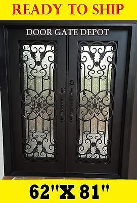 WROUGHT IRON FRONT ENTRY DOORS WITH TEMPERED GLASS 62''X81'' DGD1067  | eBay