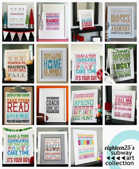 eighteen25: subway art collection.  Collection of subway Art free printables for holidays.