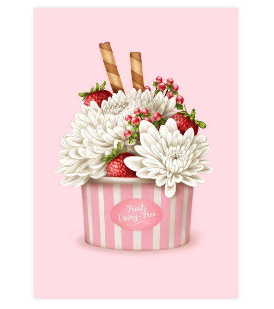 Strawberries & Chrysanthemums Art Print