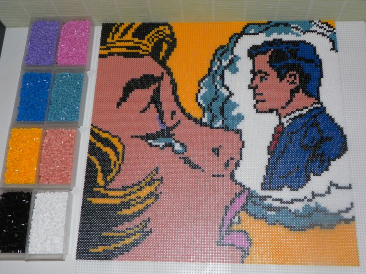 Thinking of him by Roy Lichtenstein portrait hama beads (50x50cm and 10609 beads) by steliane