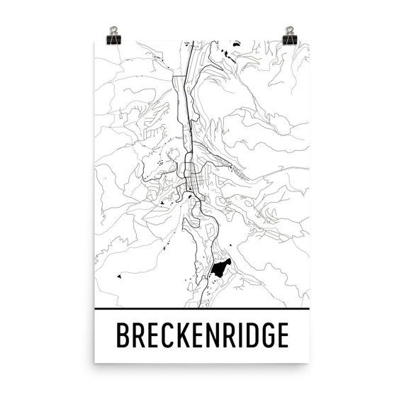 Breckenridge Map, Breckenridge CO Art, Breckenridge Print, Breckenridge CO Poster, Breckenridge Wall Art, Map of Breckenridge, Gift, Decor