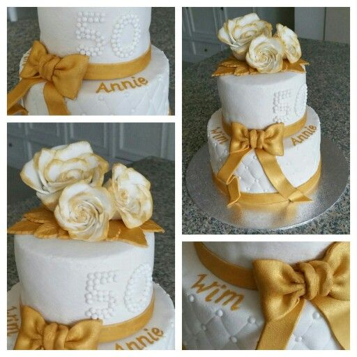 50 year marriage anniversary cake - white/gold with roses and bow!