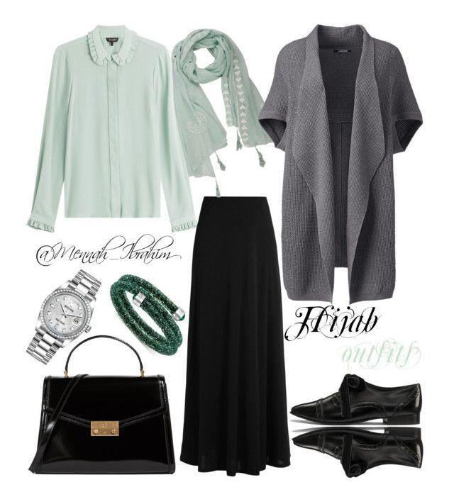 """""""#Hijab_outfits #modesty #Grey #Mint"""" by mennah-ibrahim on Polyvore featuring Tara Jarmon, The Row, Lands' End, Tory Burch, Rolex, Swarovski and plus size clothing"""