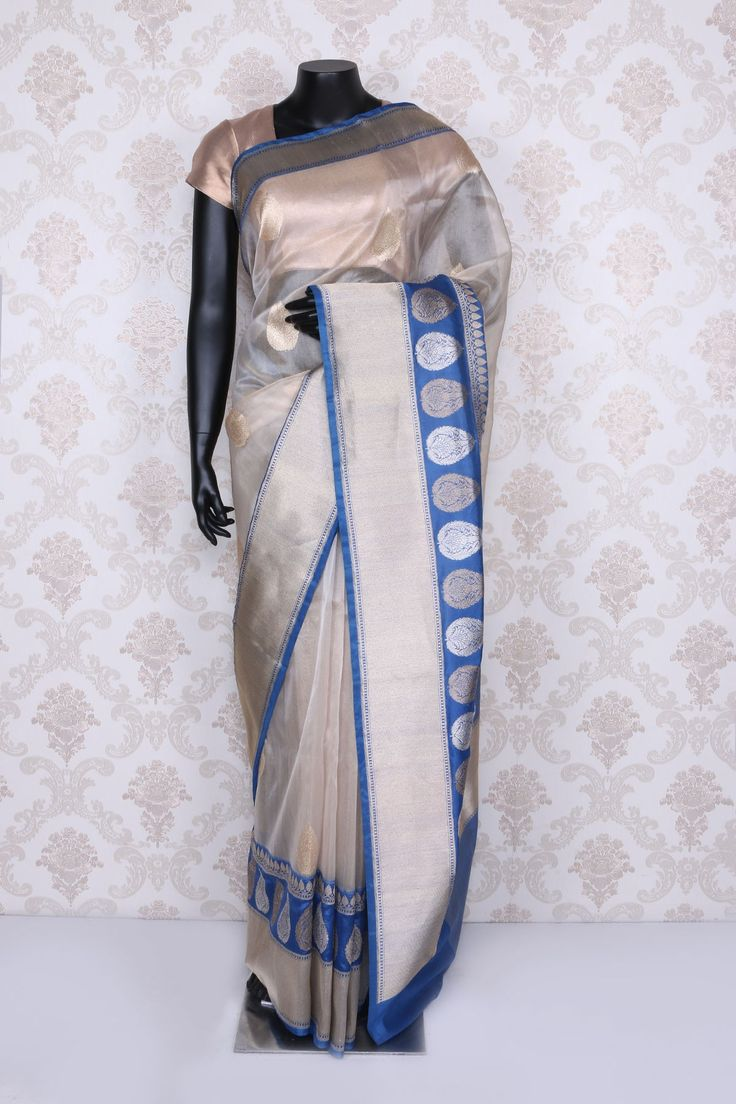 Chic #pearl #white banarasi silk saree with #blue,#silver & #gold border-SR11761